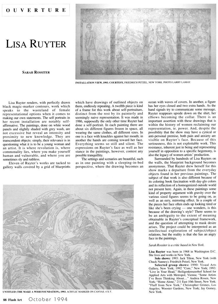 "Sara Rossiter, ""Lisa Ruyter,"" Ouverture, Flash Art, October 1994"