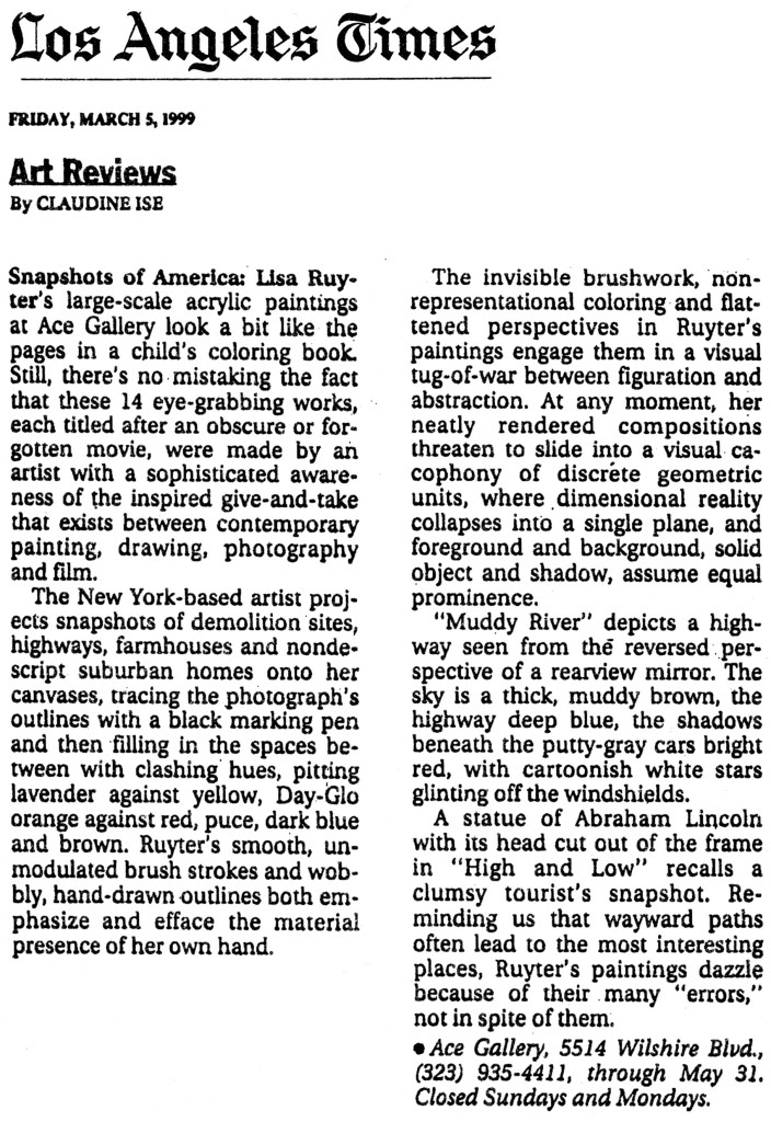 "Claudine Ise, ""Lisa Ruyter at Ace,"" The Los Angeles Times, March 5, 1999"