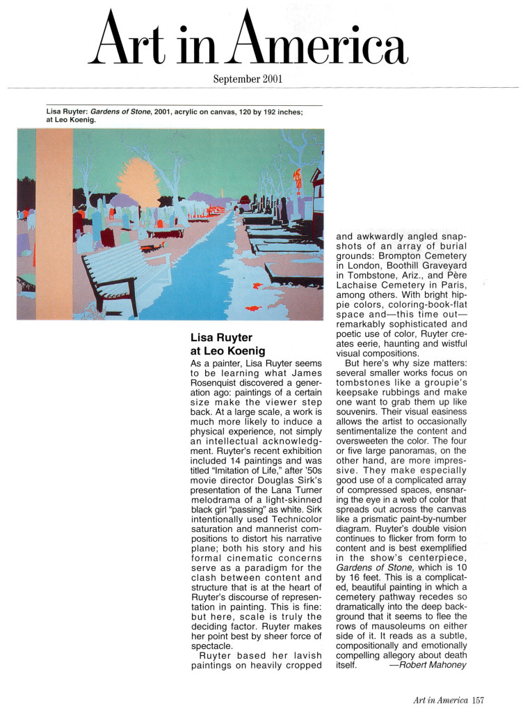 "Robert Mahoney, ""Lisa Ruyter at Leo Koenig,"" Art in America, September, 2001, p 157"